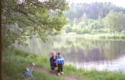 The Father and Son near the home in Oskarstrom in Sweden August 1993.